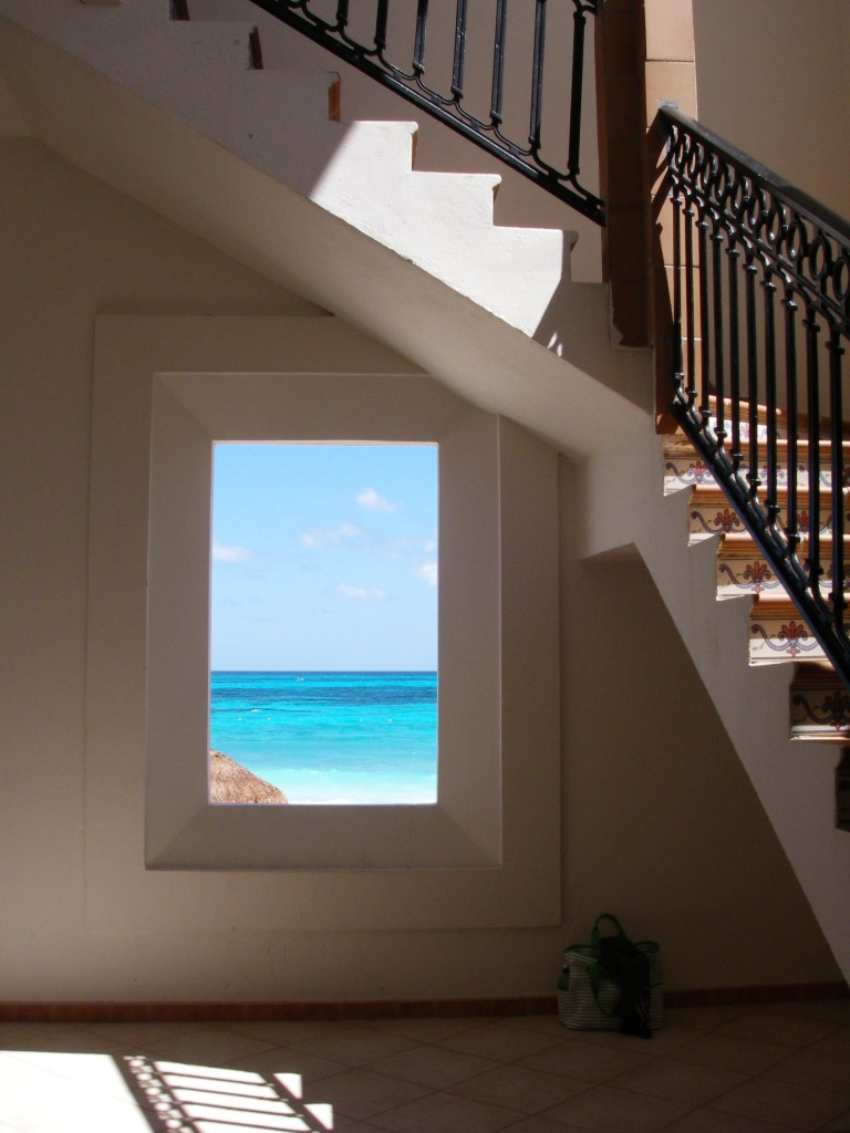 Sea view through hall window